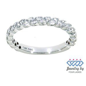 Real Diamond Half Eternity Wedding Band White Gold